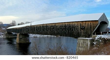 Covered Bridge, Cornish, New Hampshire. - stock photo