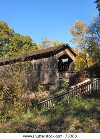 Covered Bridge in Ada Michigan - stock photo