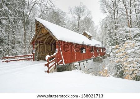 Covered Bridge in Northern Michigan. Fresh Winter Snow - stock photo
