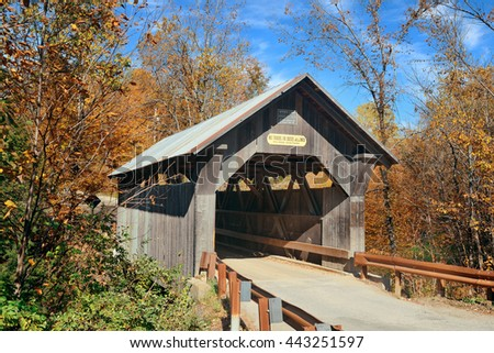 Covered bridge in Vermont in Autumn - stock photo