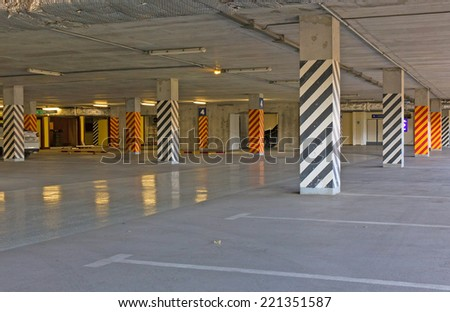 covered parking at the mall - stock photo