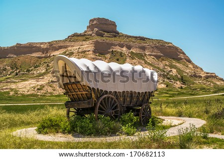 Covered Wagon at Scotts Bluff National Monument in Nebraska - stock photo