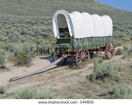 Covered Wagon on Oregon Trail - stock photo
