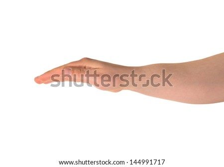 Covering something up with a palm, caucasian hand gesture composition isolated over white background - stock photo