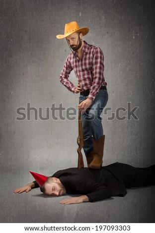 cow boy problem solving metaphor  - stock photo