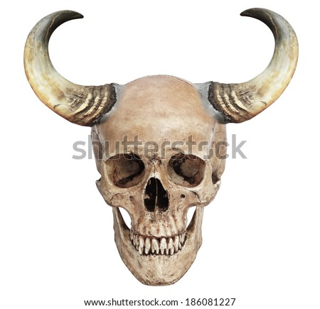 Cow horns with human skull manipulated art isolated on white with work path  - stock photo