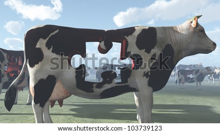 Cow with puzzle piece missing could represent modern farming and  processing of beef and dairy products - stock photo
