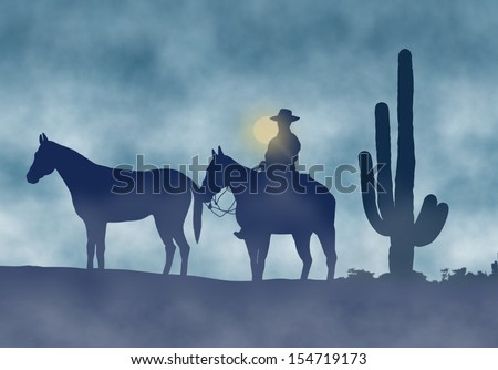 Cowboy and Horses in a Foggy Day - stock photo