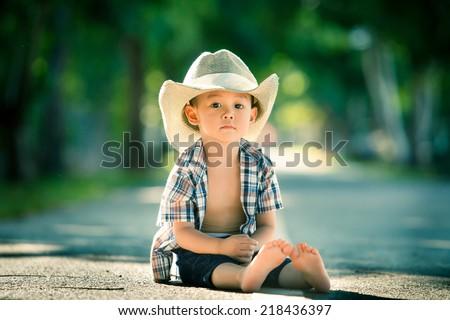 Cowboy Baby - stock photo