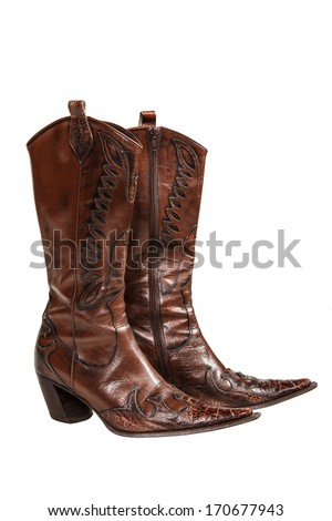 cowboy boots isolated on a white background - stock photo