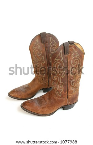 Cowboy Boots Isolated on White - stock photo