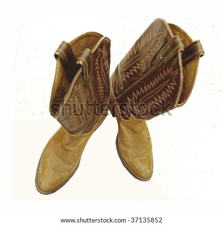 Cowboy boots, isolated on white - stock photo