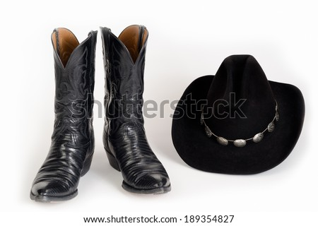 Cowboy Boots with Cowboy Hat. - stock photo
