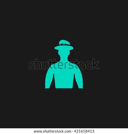 Cowboy Flat icon on black background. Simple symbol - stock photo