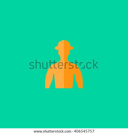 Cowboy Flat icon on color background. Simple colorful pictogram - stock photo