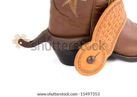 Cowboy gear - western riding equipment, spurs - stock photo