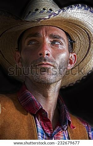 Cowboy Glances - stock photo