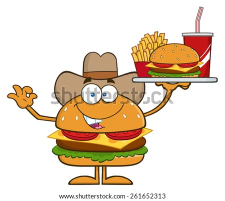 Cowboy Hamburger Cartoon Character Holding A Platter With Burger, French Fries And A Soda. Raster Illustration Isolated On White - stock photo