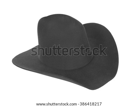cowboy hat closeup isolated on a white background - stock photo