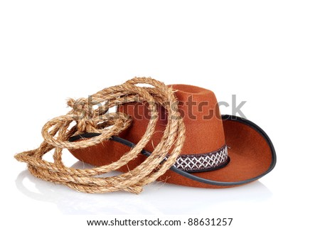 cowboy hat with a lasso - stock photo