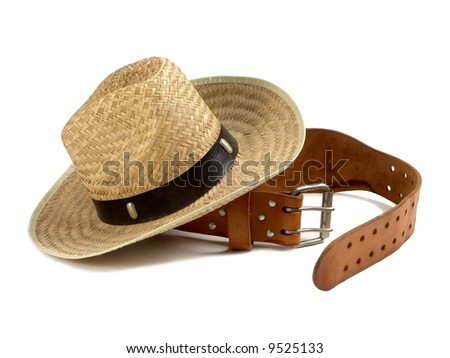 cowboy hat with leaser belt - stock photo