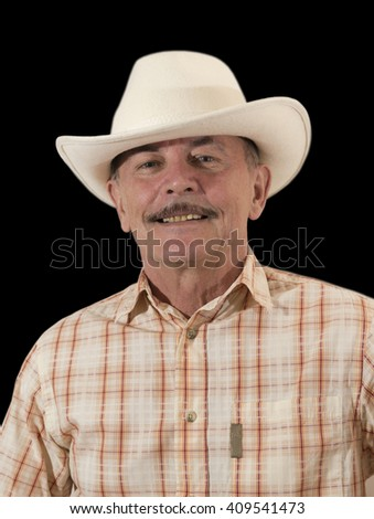 Cowboy in white hat - stock photo