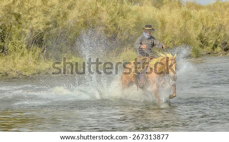 Cowboy on palomino horse galloping across river, digital oil painting - stock photo