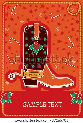 Cowboy red christmas  card with boots and holiday decoration for text.Raster - stock photo