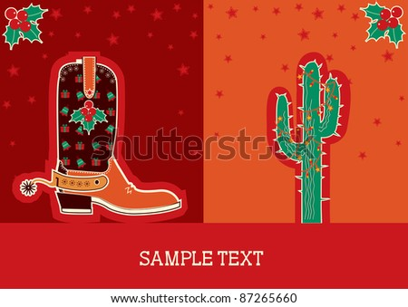 Cowboy red christmas  card with boots and holiday decoration.Raster - stock photo