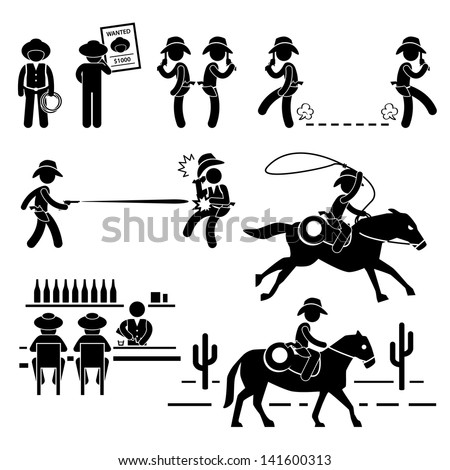 Cowboy Wild West Duel Bar Horse Stick Figure Pictogram Icon - stock photo