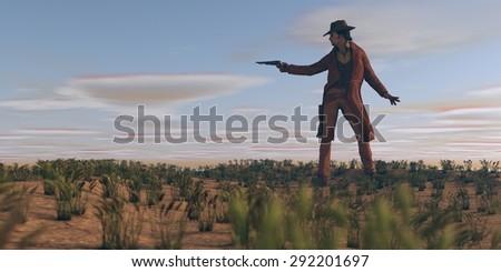 cowboy with gun in prairie - stock photo
