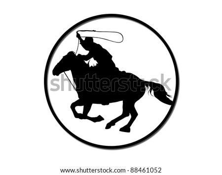 cowboy with lasso - stock photo