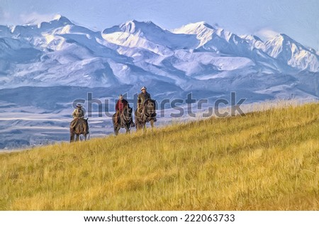 Cowboys riding the range in Montana - stock photo