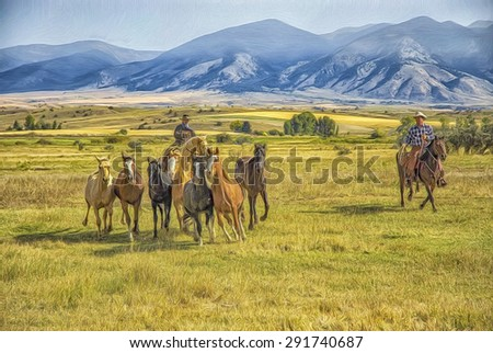 Cowboys rounding up wild horses on Montana ranch. Digital oil painting - stock photo