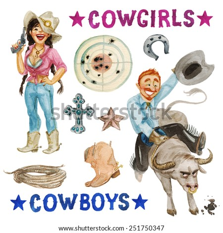 Cowboys - watercolor collection. Isolated on white - stock photo