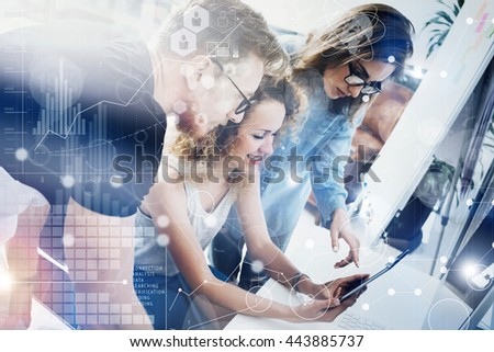 Coworkers Team Modern Office Place.Account Manager Work New Business Idea Startup Presentation.Woman Touching Digital Tablet Screen.Desktop Computer Wood Table.Virtual HiTech Diagram Interface.Concept - stock photo