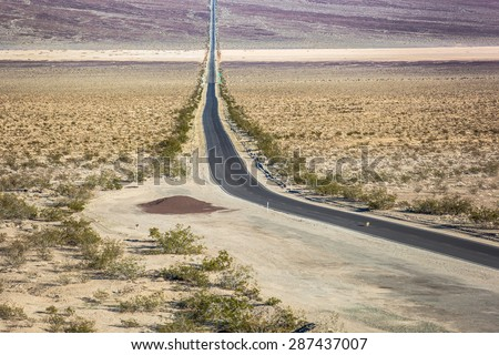 Coyotes crossing highway 190 in Panamint Valley, Death Valley National Park - stock photo