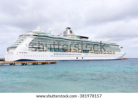COZUMEL,MEXICO-FEB 6: Royal Caribbean, Brilliance of the Seas docked in Cozumel, Mexico on Feb 6, 2016. Beautiful Radiance-class ship combines sleek swiftness, panoramic vistas, and wide-open space. - stock photo
