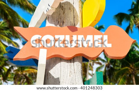 Cozumel signpost with palm trees - stock photo