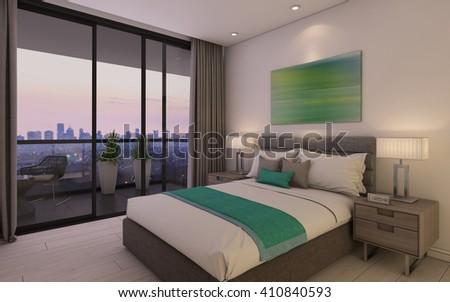 Cozy Bedroom in Hotel Room 3d rendering - stock photo