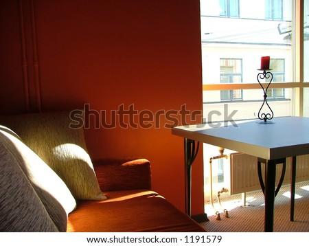 cozy corner in the cafeteria - stock photo