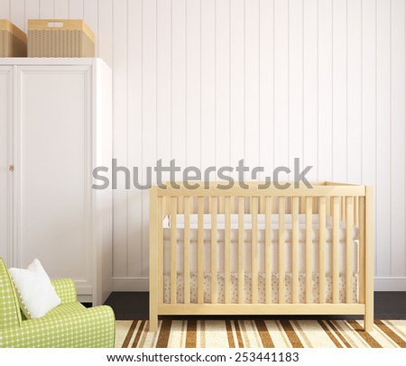Cozy interior of nursery with wooden crib. Frontal view. 3d render. - stock photo