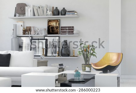 Cozy living room interior with personal effects arranged on simple white wall mounted shelves and a comfortable white lounge suite with a contemporary modular chair. 3d Rendering - stock photo