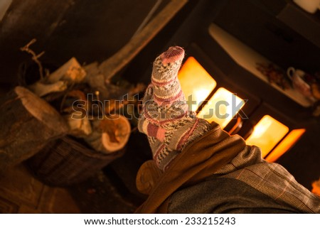 Cozy living room with fireplace - stock photo