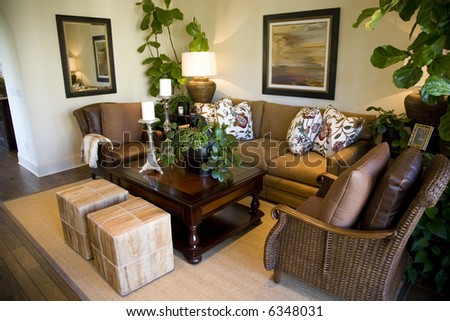 Cozy living room with modern decor. - stock photo