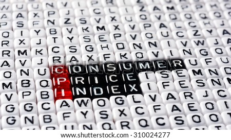 CPI Consumer Price Index definition written on dices - stock photo