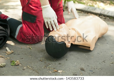 CPR training detail - stock photo