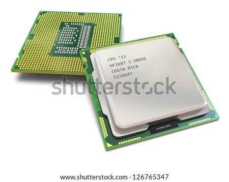 CPU. Computer's processors on white isolated background .3d - stock photo