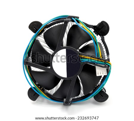 CPU cooler isolated on a white background - stock photo