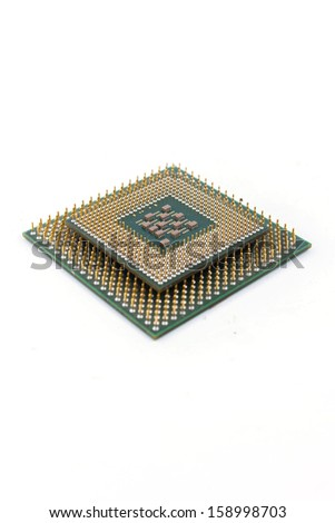 CPU Processor chip on white isolated - stock photo